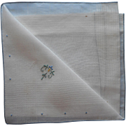 Antique Hankie Unused Linen Simple Blue Embroidery and Hem Accent