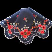 Vintage Hankie Unused Black Print Printed Cotton Flowers Blue Ribbons