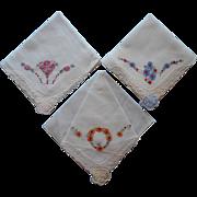 Vintage 1930s Hankies Hankie Set Hand Embroidery Unused Organdy Decoration