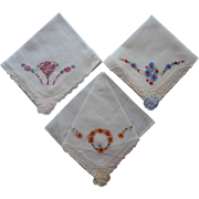 Vintage 1930s Hankies Hankie Set Hand Embroidery Unused Organdy Decoration