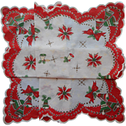 Vintage Hankie Christmas Print Unused Bells Cotton Printed