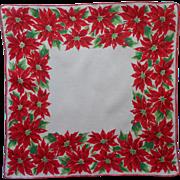 Vintage Hankie Christmas Printed Cotton Poinsettias Print Handkerchief