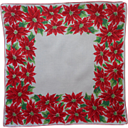 Vintage Hankie Christmas Printed Cotton Poinsettias Print Handkerchief
