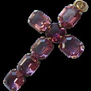Czech Vintage Purple Glass Faux Amethyst Stones Cross Pendant