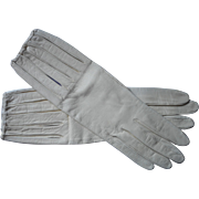 Vintage French Gloves White Leather Deep Slits Create Slashed Puffs