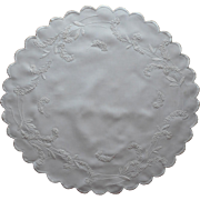 Antique Round Centerpiece Linen Table Topper Hand Embroidered French Knots