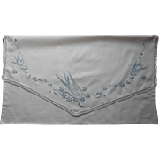 Antique Pillow Sham Blue Bird Birds Swallows Hand Embroidery Pillowcase