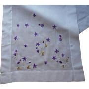 Antique Silk Embroidery Violets Runner Silk Society Hand Embroidered