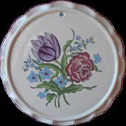Vintage Faience Tea Trivet French Bouquet Seymour Mann Hand Painted Pottery