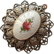 Vintage Locket Enamel Pink Rose Lacy 1920s
