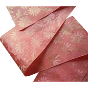 Antique Ribbon Wide Pink Silk Daisies Flowers 54 x 4.5 Inches