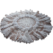 Vintage Crocheted Lace Big Frilly Ruffled Lamp Doily Centerpiece