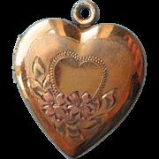 Vintage Heart Locket Vermeil Gold Filled Over Sterling Silver