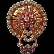 ca 1950 Pendant Pin Pink Glass Stones Gold Filled Rhinestones