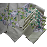 Wilendur Lilacs Lilac Print Vintage Tablecloth Topper 4 Napkins Set Green