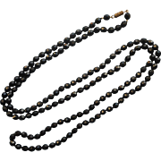 Vintage Black Glass Faceted Beads Rope Necklace 48 Inches Knotted