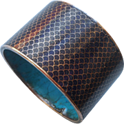 Chinese Cloisonne Enamel Napkin Ring Midnight Blue Fish Scale