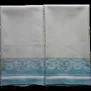 1930s Towels Vintage Cannon Art Deco Blue White Pair