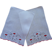 2 Cocktail Napkins Madeira Vintage Red Gray Hand Embroidery