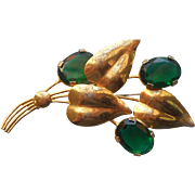 1940s Sterling Vermeil Pin Vintage Leaves Emerald Green Color Glass Stones