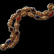 Vintage Slide Style Bracelet Double Strand Great Snap Closure