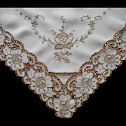 Tea Tablecloth Vintage Madeira Hand Embroidery Cutwork Linen Slightly TLC