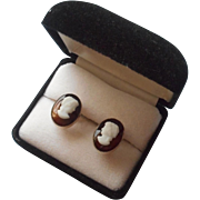 Brown Glass Cameo Earrings Vintage Clip With Screw Back Mechanism