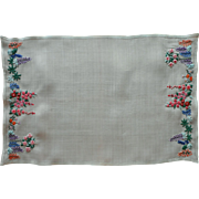 Best Needlework Vintage Linen Tray Cloth Lupines Hollyhocks Tree Peony