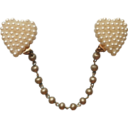 Sweater Guard Vintage Faux Pearls Heart Shaped