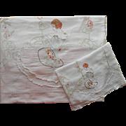 Vintage 1920s Coverlet Bedspread Runner Hand Embroidered Voile Pink