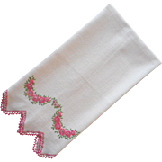 ca 1920 Towel Unused Vintage Pink Hand Embroidery French Knots Flowers