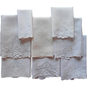 Vintage Guest Towels Linen All White on White Embroidery Cutwork Some TLC