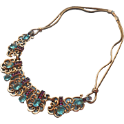 1950 Boucher Necklace 3096 Vintage Faux Aquamarines Faux Amethysts Repaired
