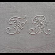 Monogram T. R. French Antique BIG Napkin Damask Topper