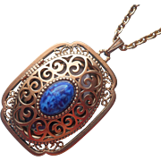 Locket Pendant Vintage Necklace Blue Glass Stone Large Filigree