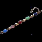 Vintage Scarab Bracelet Glass Carved Cabochons