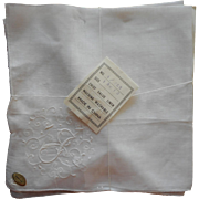 Monogram J Vintage Linen Hankie Pair Unused Hand Embroidered