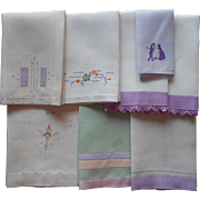 1920s Towels All w Purple Vintage Linen Hand Embroidery Lace Some TLC