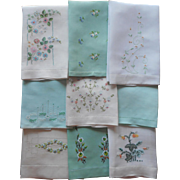 Guest Towels All w Green Vintage Linen Hand Embroidery