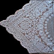 Filet Lace Tablecloth 1920s Vintage TLC 85 x 66