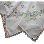 Hand Embroidered Small Tablecloth Vintage Butterflies Colored