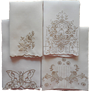 Guest Towels Vintage Linen Light Ecru Hand Embroidery