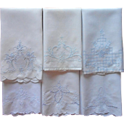 Guest Towels Vintage 1940s White Cotton Pale Blue Hand Embroidery