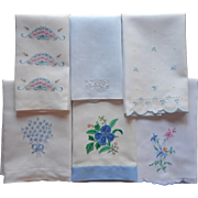 Guest Towels Vintage All With Blue Hand Embroidery Applique Linen Cotton