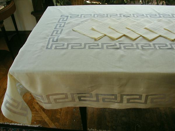 Madeira Set Vintage Yellow Linen Organdy Tablecloth Napkins