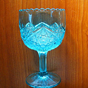 Turquoise Huge Pressed Glass Oversized Goblet Vintage Mid Century