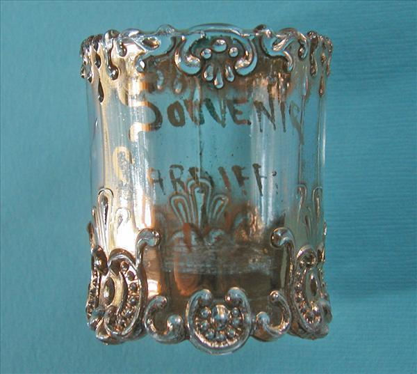 Cardiff NY Antique Toothpick EAPG Pressed Glass Gold Souvenir