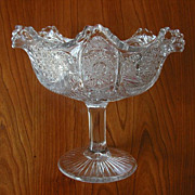 Ruffled Pressed Glass Antique EAPG Compote Pedestal
