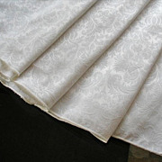 Round Tablecloth Ivory Damask Weave Easy Care - Red Tag Sale Item