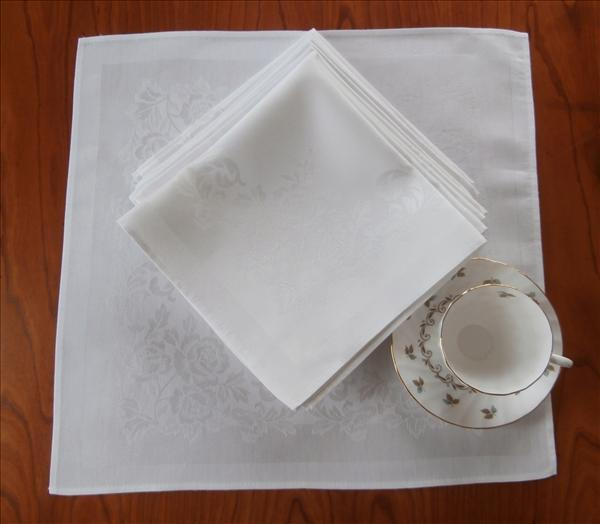 Set 12 Napkins White Luncheon Roses Damask Weave Vintage
